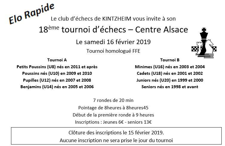 16 février 2019: 18e Tournoi de Kintzheim – Résultats